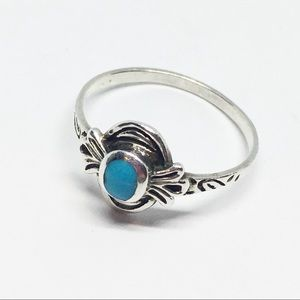 Dainty Sterling 925 Ring Native Ornate Blue Stone
